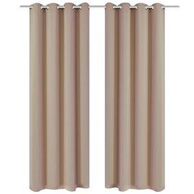 vidaXL Lystette gardiner 2 stk med metallmaljer 135x175 cm krem