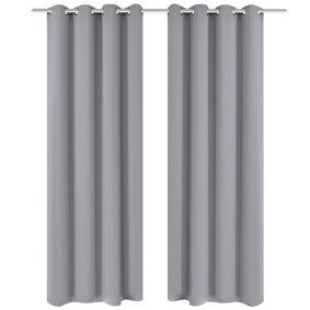 vidaXL Lystette gardiner 2 stk med metallmaljer 135x175 cm grå