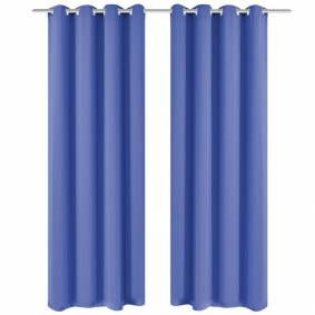 vidaXL Lystette gardiner 2 stk med metallmaljer 135x175 cm blå
