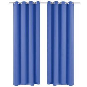 vidaXL Lystette gardiner 2 stk med metallmaljer 135x245 cm blå