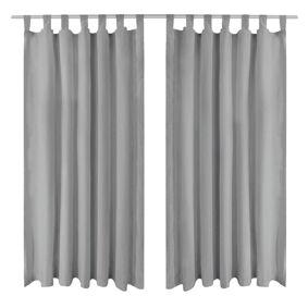 vidaXL Mikrosateng gardiner med hemper 2 stk 140x175 cm grå