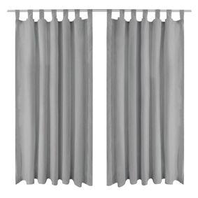vidaXL Mikrosateng gardiner med hemper 2 stk 140x245 cm grå