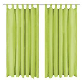 vidaXL Mikrosateng gardiner med hemper 2 stk 140x245 cm grønn