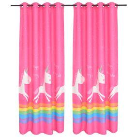 vidaXL Lystette gardiner til barnerom 2 stk 140x240 cm rosa