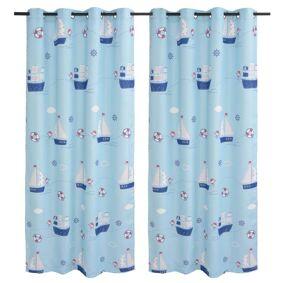 vidaXL Lystette gardiner til barnerom 2 stk 140x240 cm blå