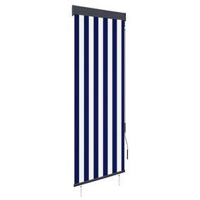 vidaXL Utendørs rullegardin 60x250 cm blå og hvit