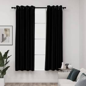 vidaXL Lystette gardiner maljer og lin-design 2 stk svart 140x175 cm