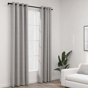 vidaXL Lystette gardiner med maljer og lin-design 2 stk grå 140x225 cm