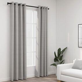 vidaXL Lystette gardiner med maljer og lin-design 2 stk grå 140x245 cm