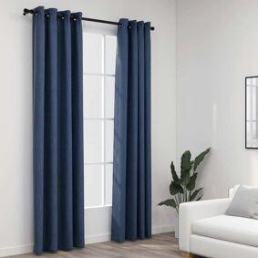 vidaXL Lystette gardiner maljer og lin-design 2 stk blå 140x225 cm