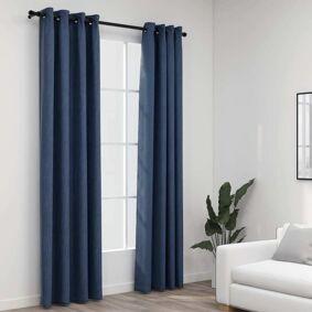 vidaXL Lystette gardiner maljer og lin-design 2 stk blå 140x245 cm