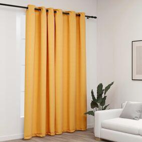 vidaXL Lystett gardin med maljer og lin-design gul 290x245 cm