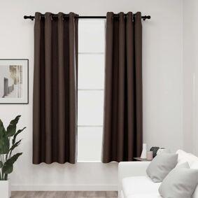 vidaXL Lystette gardiner maljer og lin-design 2 stk gråbrun 140x175 cm