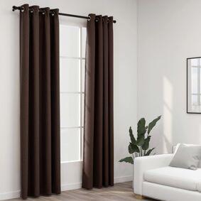 vidaXL Lystette gardiner maljer og lin-design 2 stk gråbrun 140x225 cm