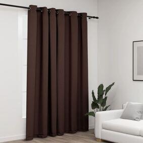 vidaXL Lystett gardin med maljer og lin-design gråbrun 290x245 cm