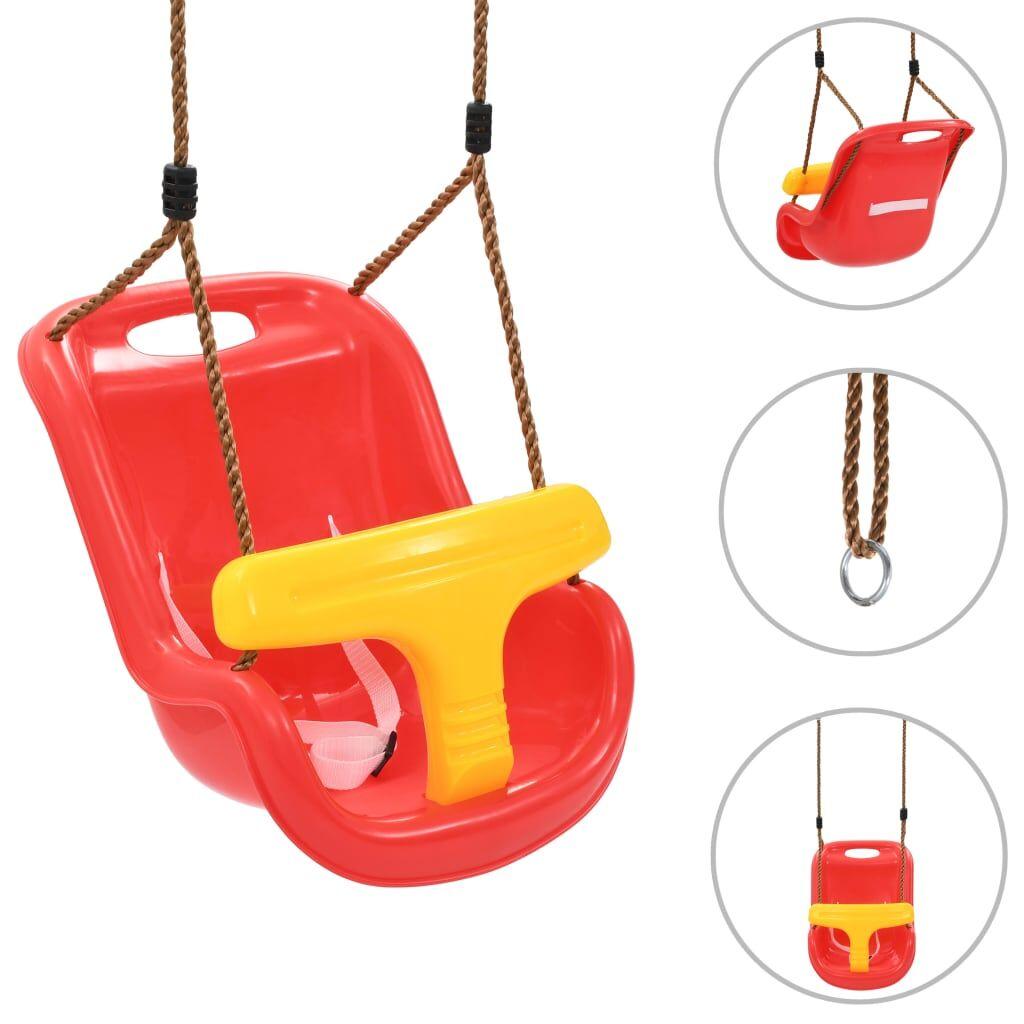 vidaXL Babyhuske med sikkerhetsbelte PP rød