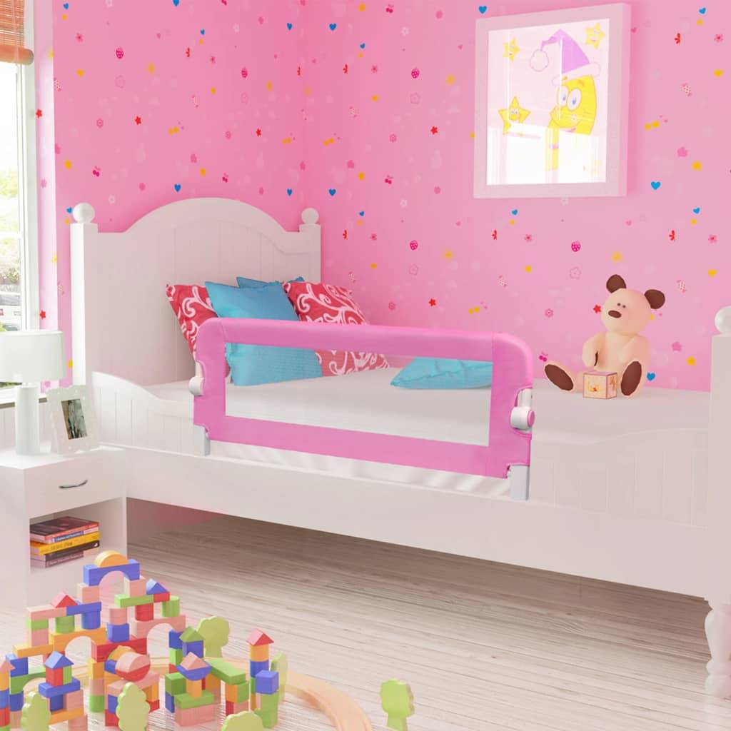 vidaXL Sengehest småbarn rosa 120x42 cm polyester