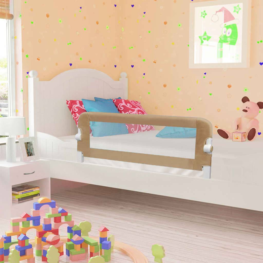 vidaXL Sengehest småbarn gråbrun 120x42 cm polyester
