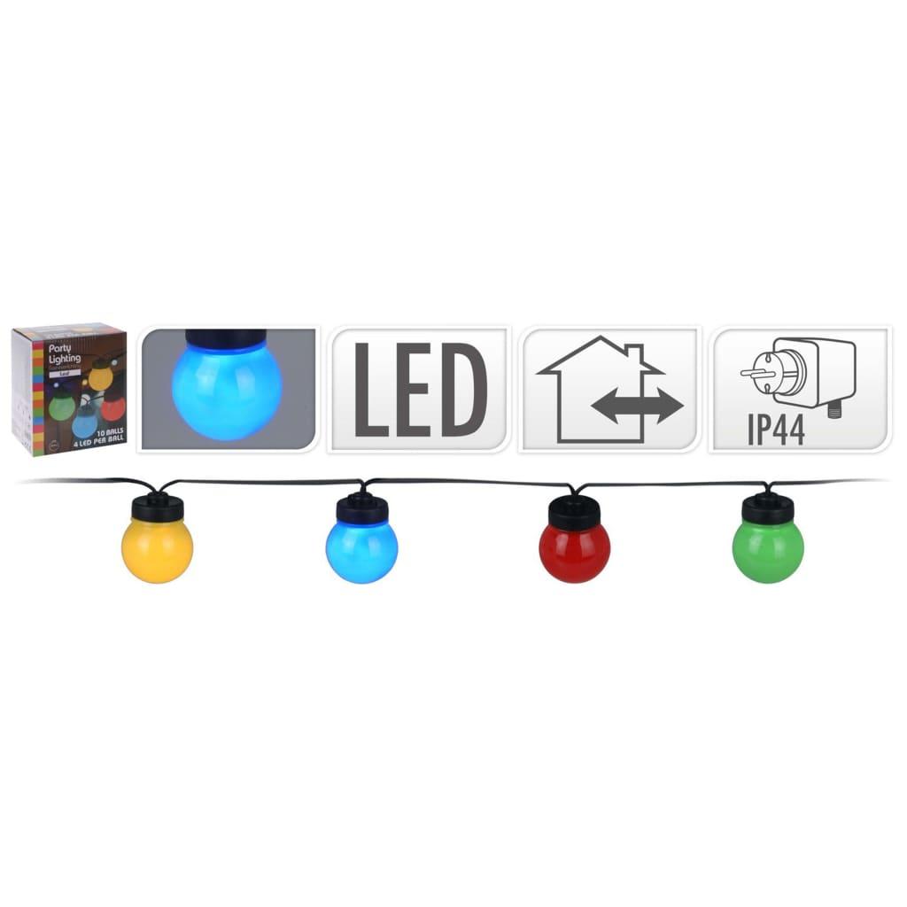 ProGarden LED-festbelysningssett med 10 lamper flerfarget 12 V
