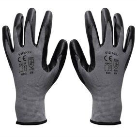 vidaXL Arbeidshansker nitril 1 par grå og svart størrelse 9/L