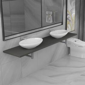 vidaXL Baderomsmøbler 3 deler keramisk grå