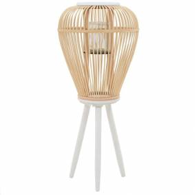 vidaXL Frittstående lanterne for stearinlys bambus naturfarget
