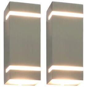 vidaXL Utendørs vegglamper 2 stk 35 W sølv rektangulær