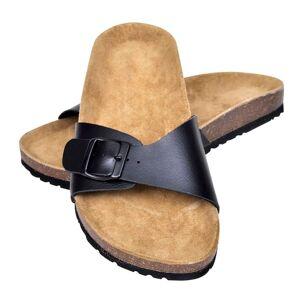 vidaXL Biokork sandaler for kvinner med 1 stropp svart størrelse 36