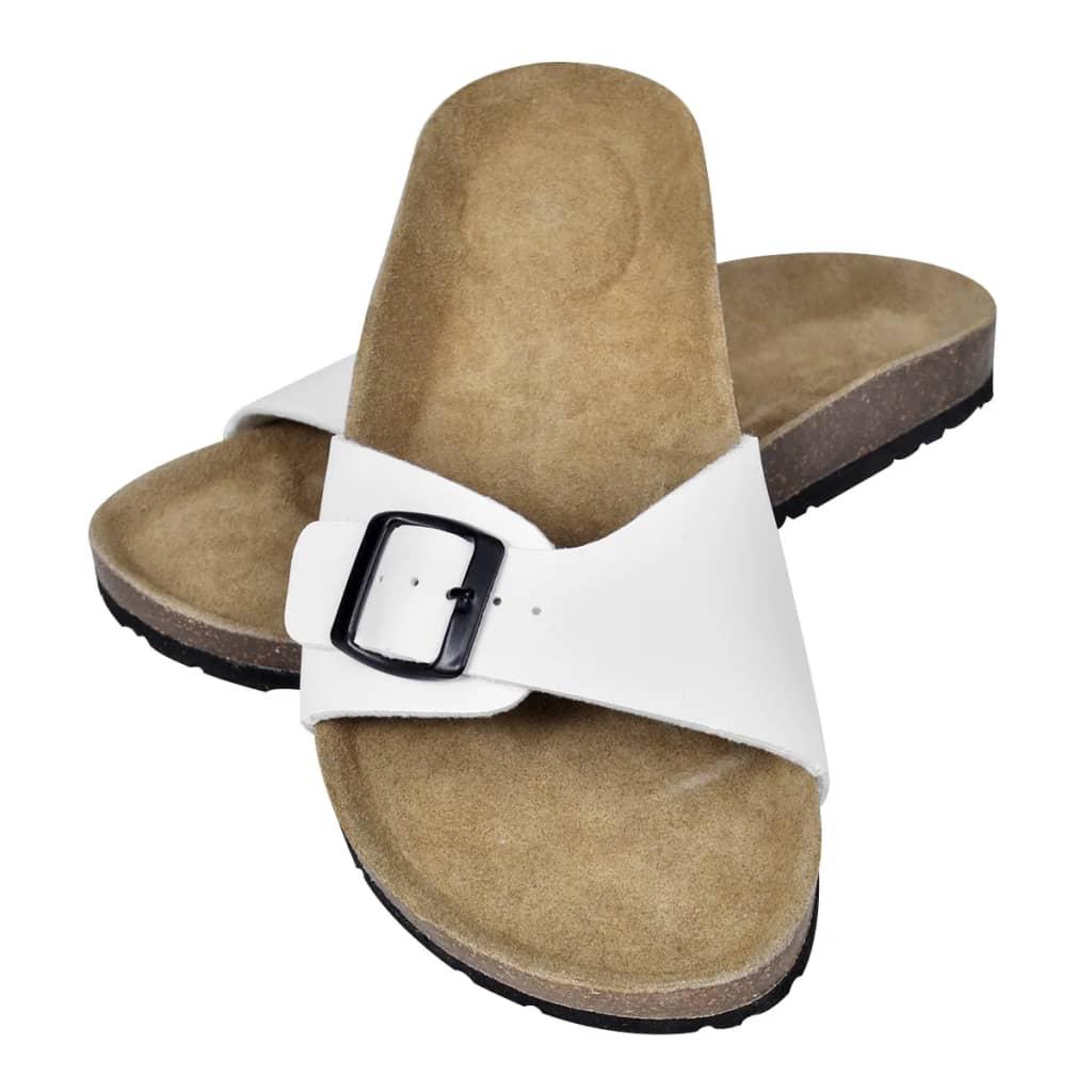 vidaXL Hvit Unisex Bio Sandaler med Korksåler og Beltestropp med Spenne 40