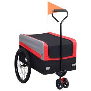 vidaXL 2-i-1 XXL sykkeltilhenger og trillevogn rød grå og svart