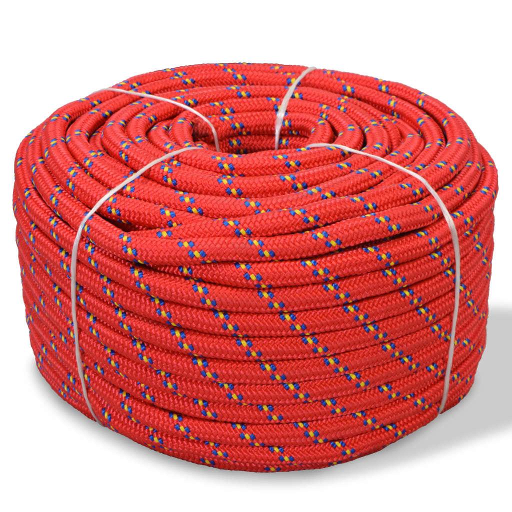 vidaXL Båttau polypropylen 6 mm 100 m rød