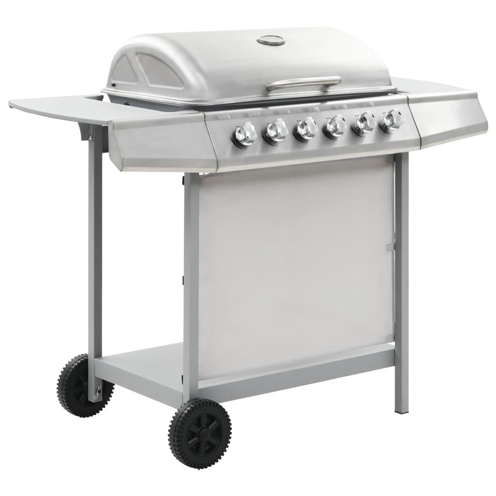 vidaXL Gassgrill med 6 kokesoner rustfritt stål sølv