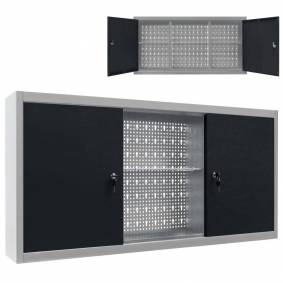 vidaXL Veggmontert verktøyskap industriell stil metall grå og svart