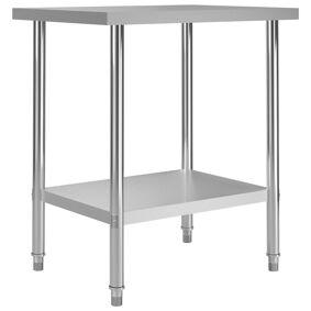 vidaXL Arbeidsbord for kjøkken 80x60x85 cm rustfritt stål