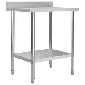 vidaXL Arbeidsbord for kjøkken med bakplater 80x60x93 rustfritt stål