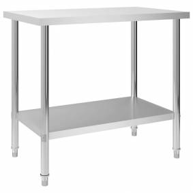 vidaXL Arbeidsbord for kjøkken 100x60x85 cm rustfritt stål