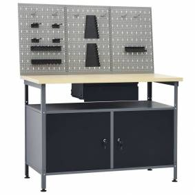 vidaXL Arbeidsbenk med 3 vegghengte verktøytavler
