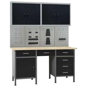 vidaXL Arbeidsbenk med 4 vegghengte verktøytavler og 2 skap