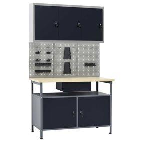 vidaXL Arbeidsbenk med 3 vegghengte verktøytavler og 1 skap