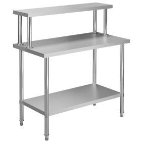 vidaXL Arbeidsbord for kjøkken overhylle 120x60x120 cm rustfritt stål