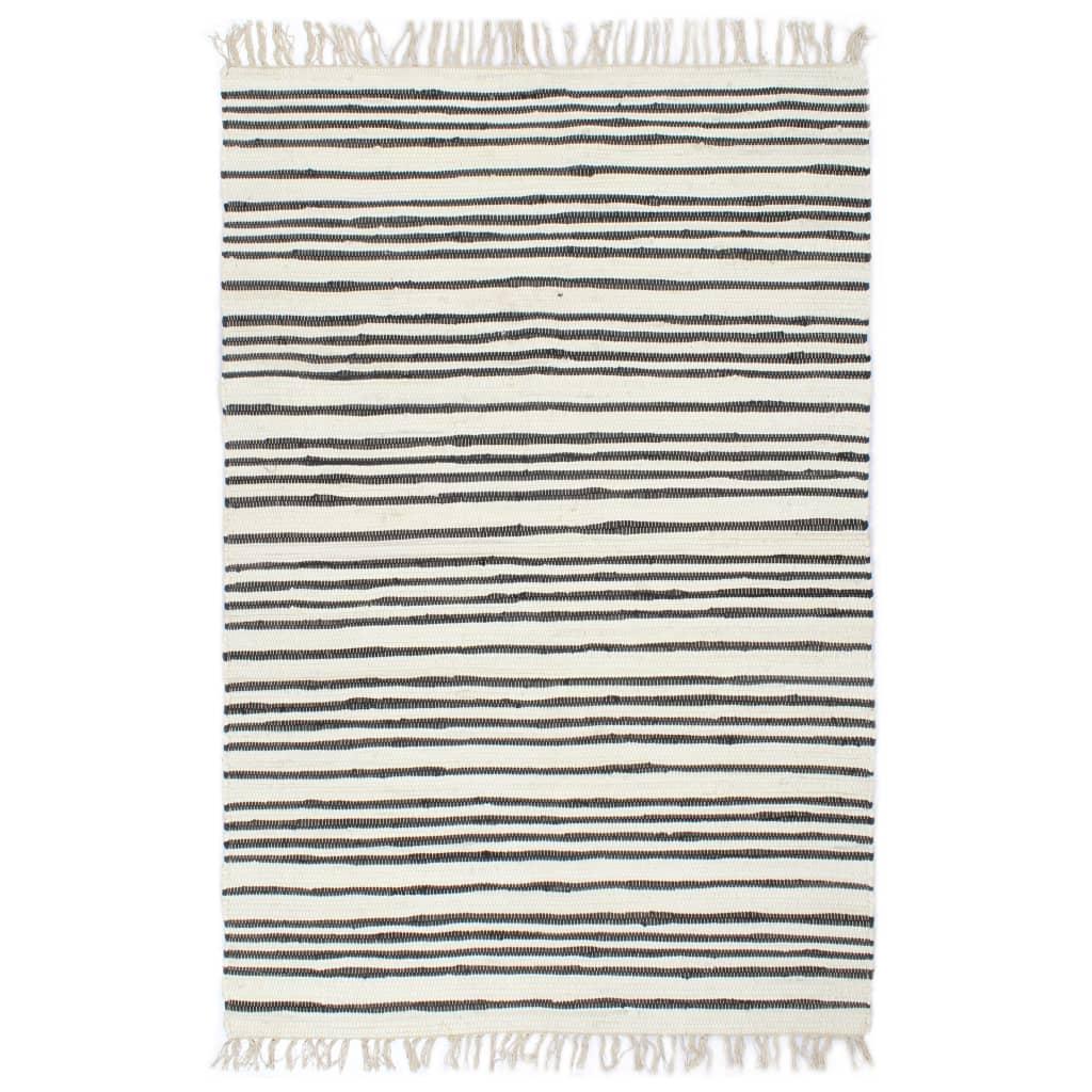 vidaXL Håndvevet Chindi teppe bomull 200x290 cm antrasitt og hvit