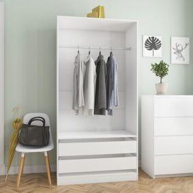 vidaXL Garderobe høyglans hvit 100x50x200 cm sponplate