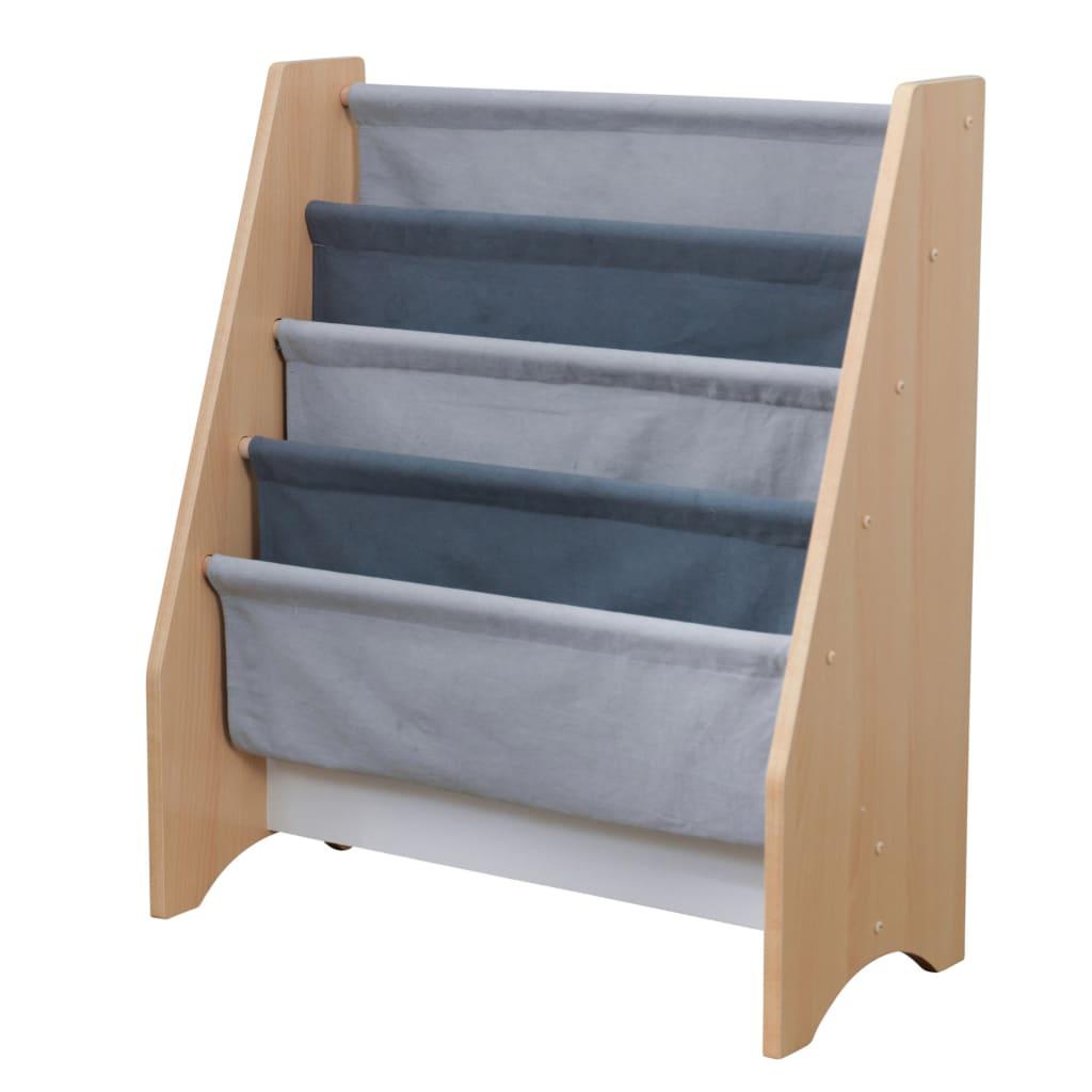 KidKraft Sling bokhylle for barn grå og naturlig 61,47 x 29,72 x 71,37 cm