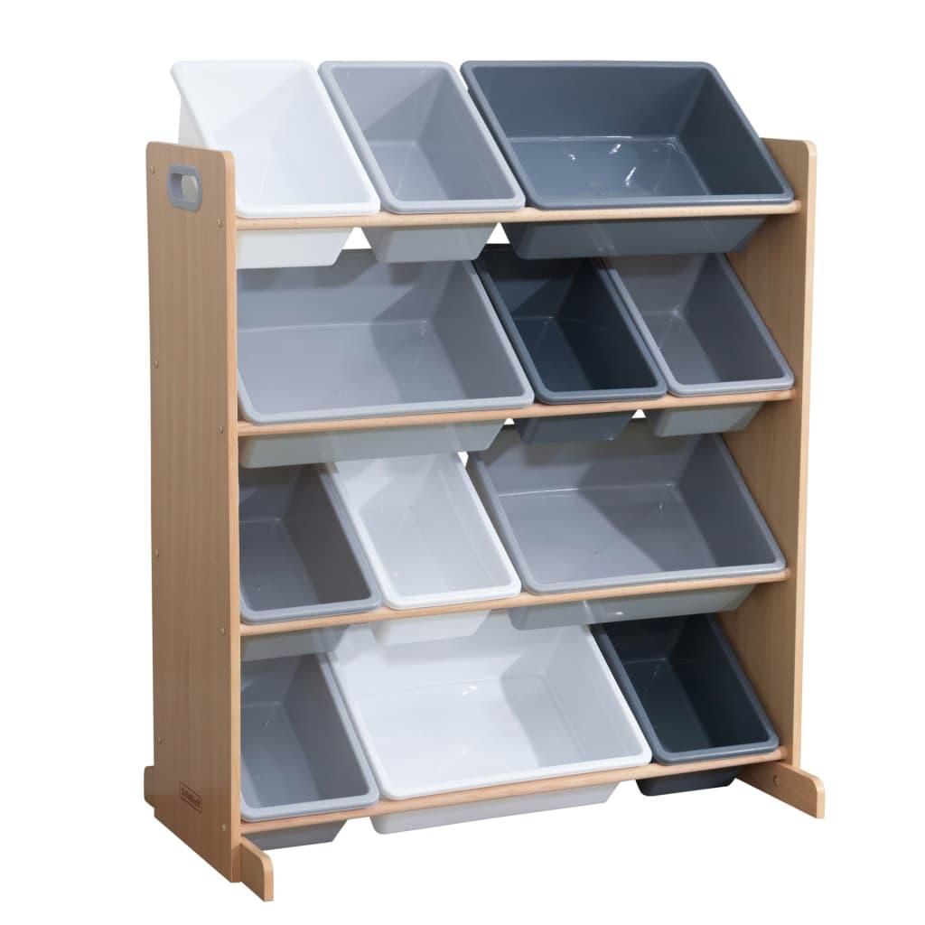 KidKraft Oppbevaringsenhet for leketøy Sort It & Store It grå og naturlig
