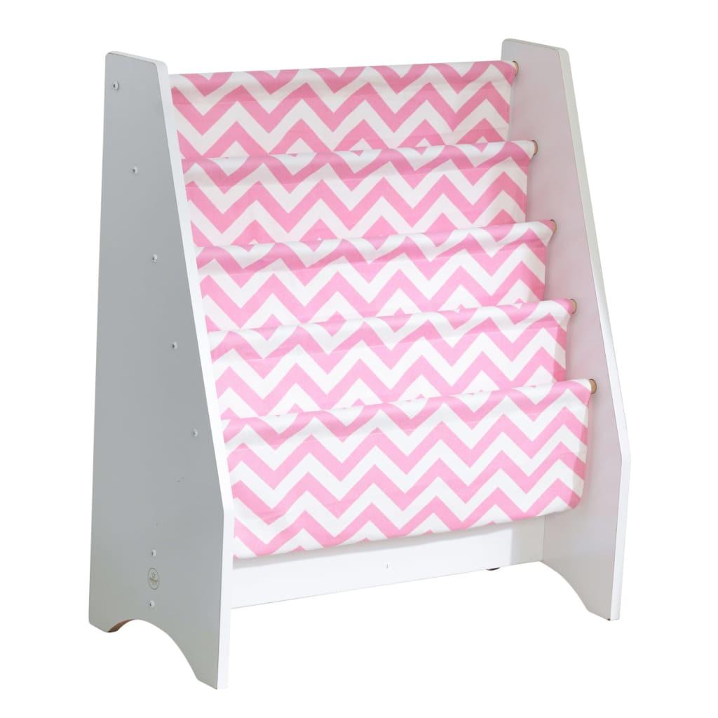 KidKraft Sling bokhylle for barn rosa og hvit 60,96 x 29,85 x 71,12 cm