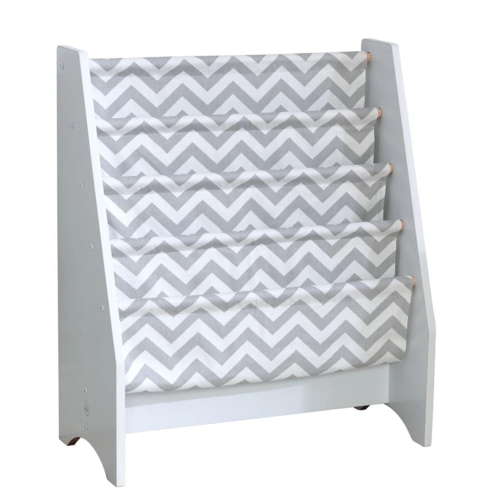 KidKraft Sling bokhylle for barn grå og hvit 60,96 x 29,85 x 71,12 cm