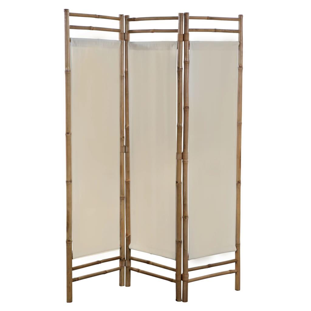 vidaXL Sammenleggbar romdeler 3-paneler bambus og lerret 120 cm