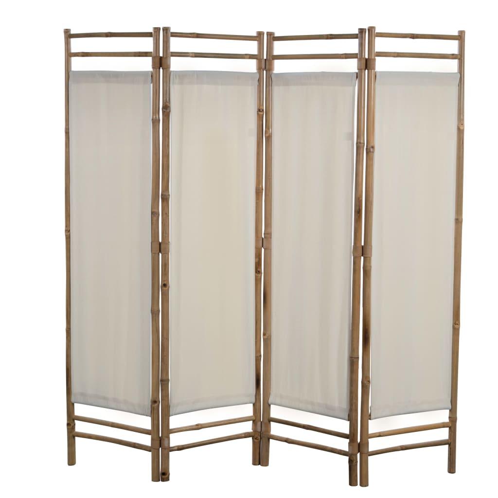 vidaXL Sammenleggbar romdeler 4-paneler bambus og lerret 160 cm