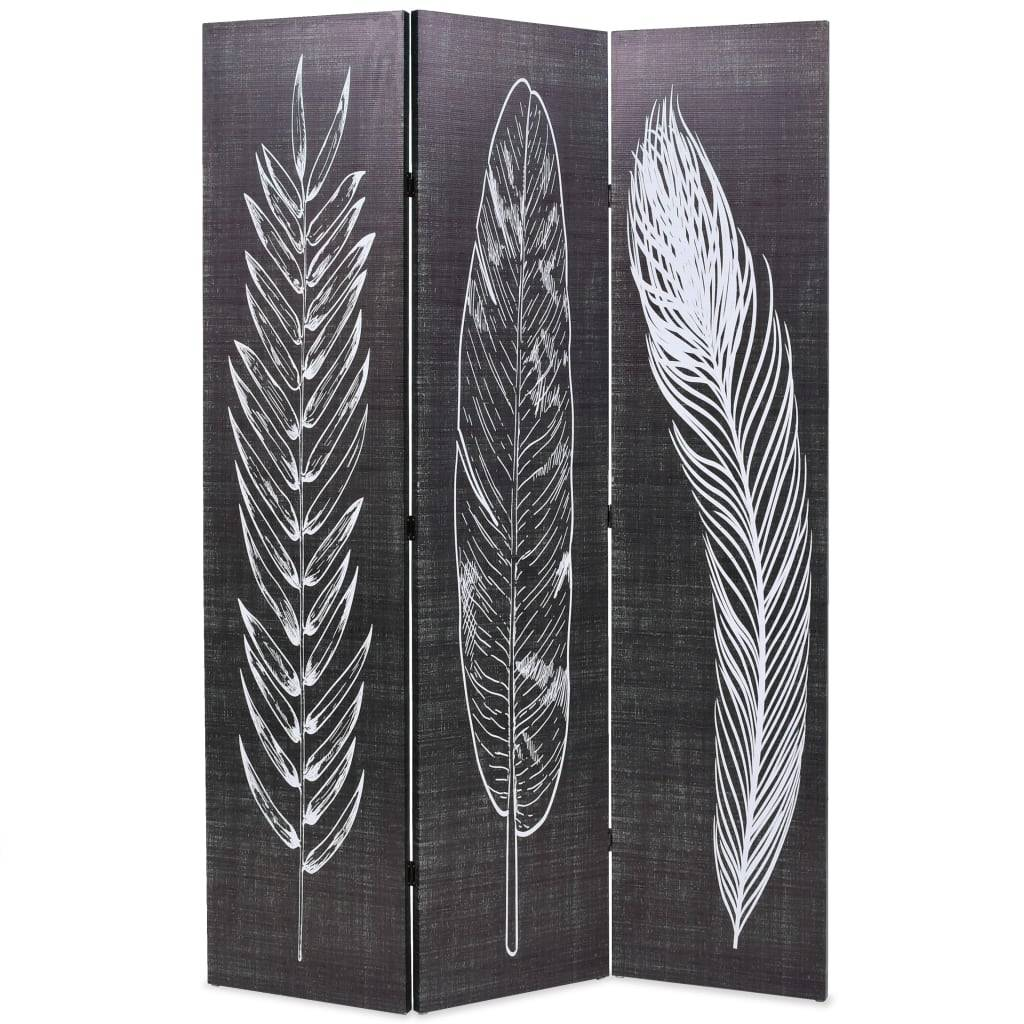 vidaXL Sammenleggbar romdeler 120x170 cm fjær svart og hvit