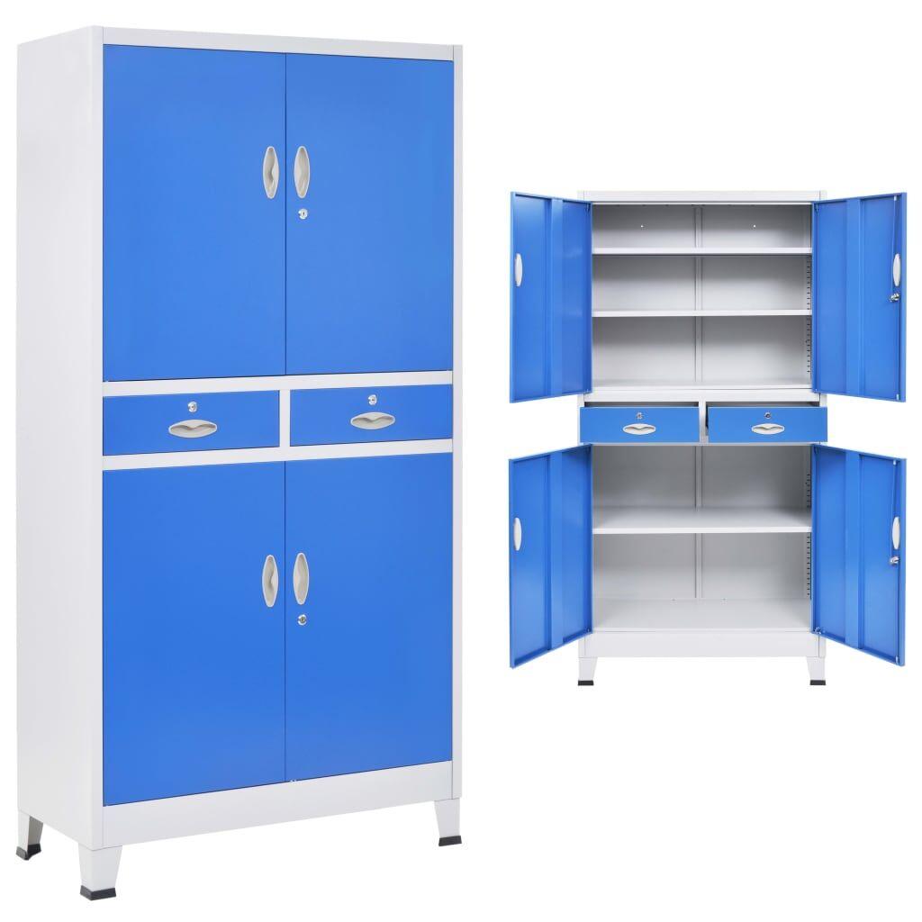 vidaXL Kontorskap med 4 dører metall 90x40x180 cm grå og blå
